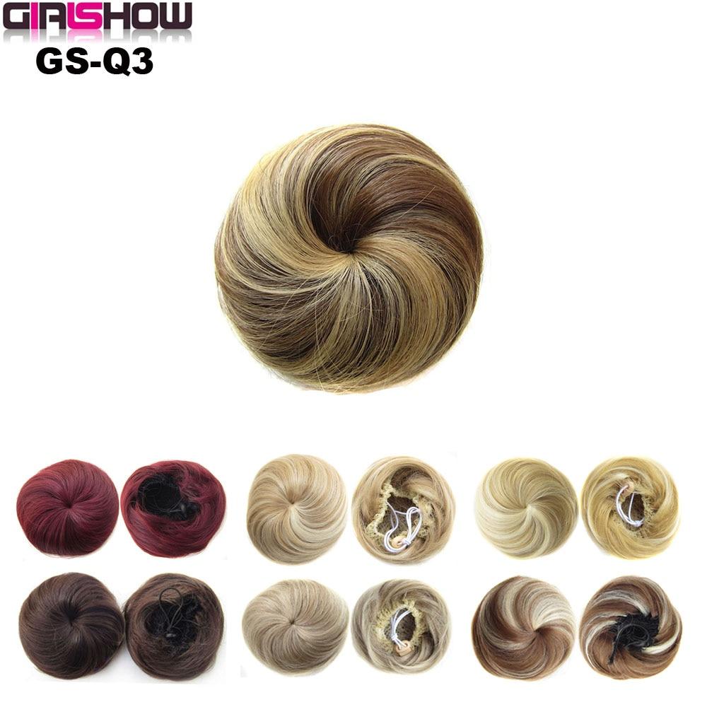 Girlshow Synthetic Straight Elastic Hair Bun Wig Ball Hair Chignon Roller Q3 Ponytail Hair piece Chocolate Blonde