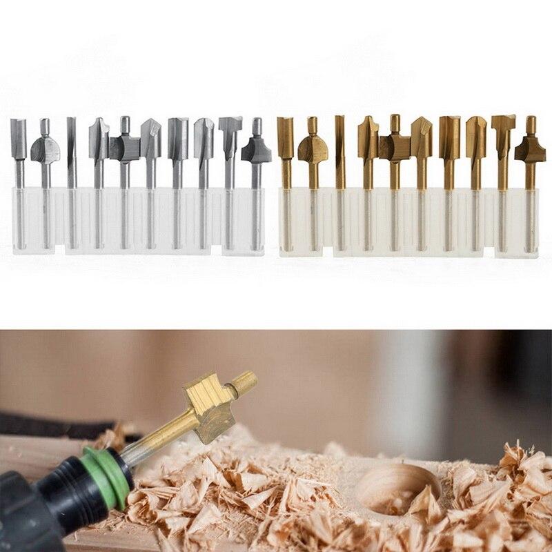 "10 Uds recorte de madera cuchillo Router Bits 3mm 1/8 ""HSS Shank Router Kit de brocas para tallar taladros de madera"