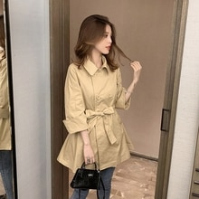 2021 Spring Autumn Lapel Tie Trench Coat Women Casual Loose Coats Fashion Double breasted Windbreake