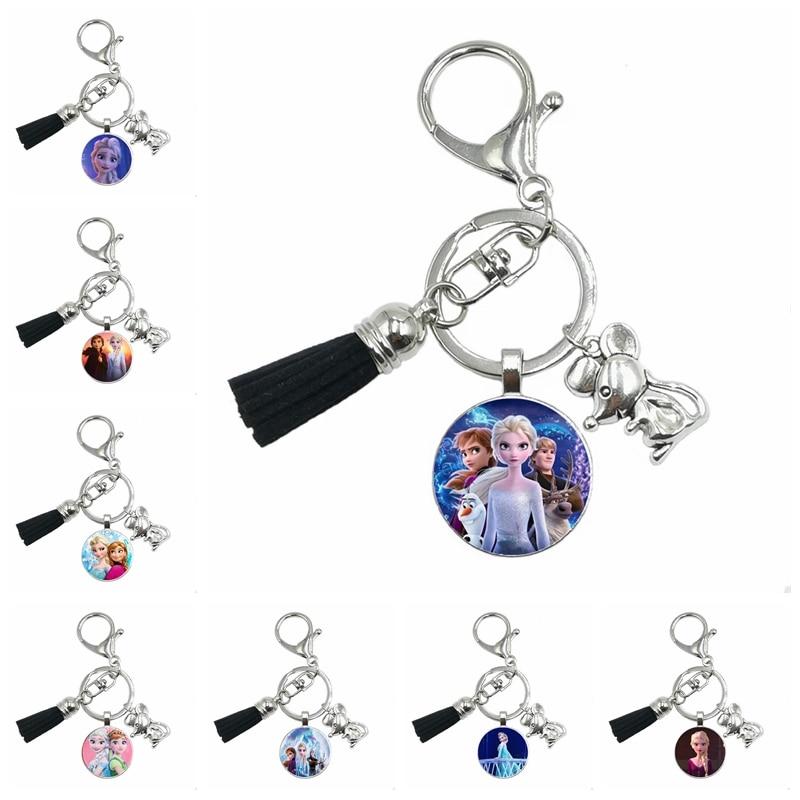 2020 New Mouse Pendant Child 12 Color Tassel Keychain Lady Handbag Charm Jewelry Princess Elsa Anna Snow Queen Keychain Gift