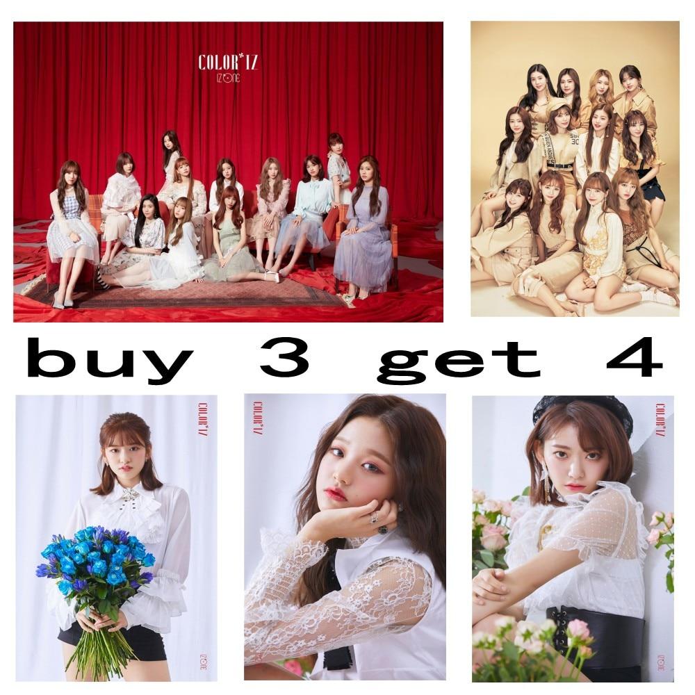 Kpop IZ * ONE IZONE COLOR * IZ La vida en Rose álbum papel revestido blanco póster fotos Fans colección Serie 2