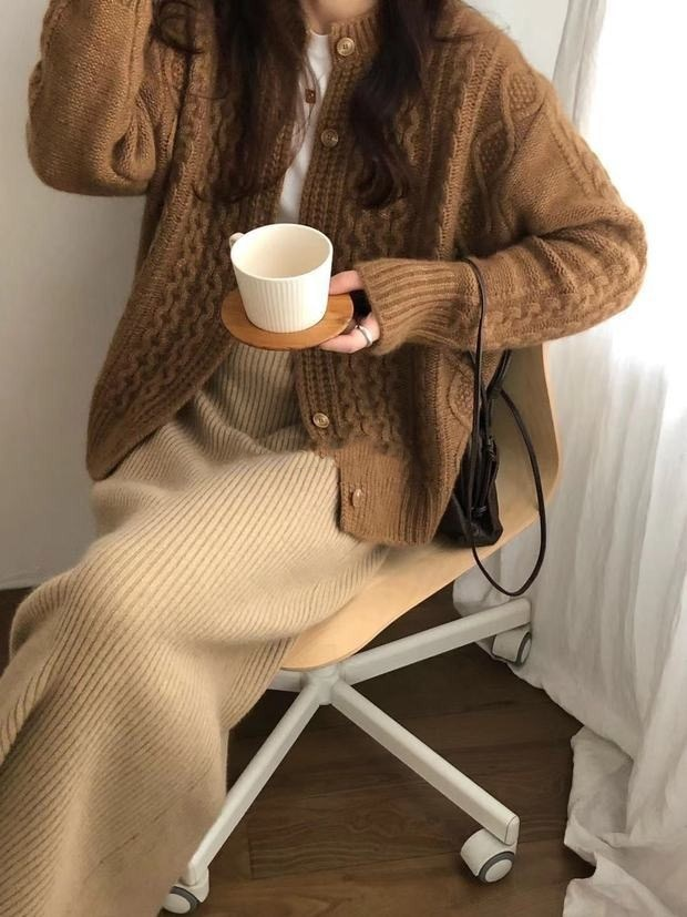 Temperament Commuter Coat Twist Wool Cardigan Women's Thick Loose Lazy Style Pure Wool Jacket Autumn Winter New Fashion Clothing enlarge