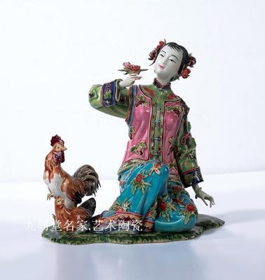 Golden chicken nueva buena señora clásica muñeca Shiwan Linnaihe cerámica estilo chino sala de estar Bogujia estudio porche escultura stat