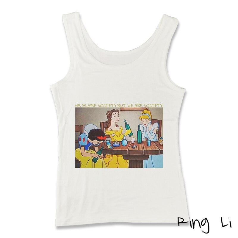 Camiseta con estampado de chica guay Vintage de los 90 Harajuku moda de venta al por menor bonita y divertida caricatura camiseta sin mangas Blancanieves princesa estilo coreano