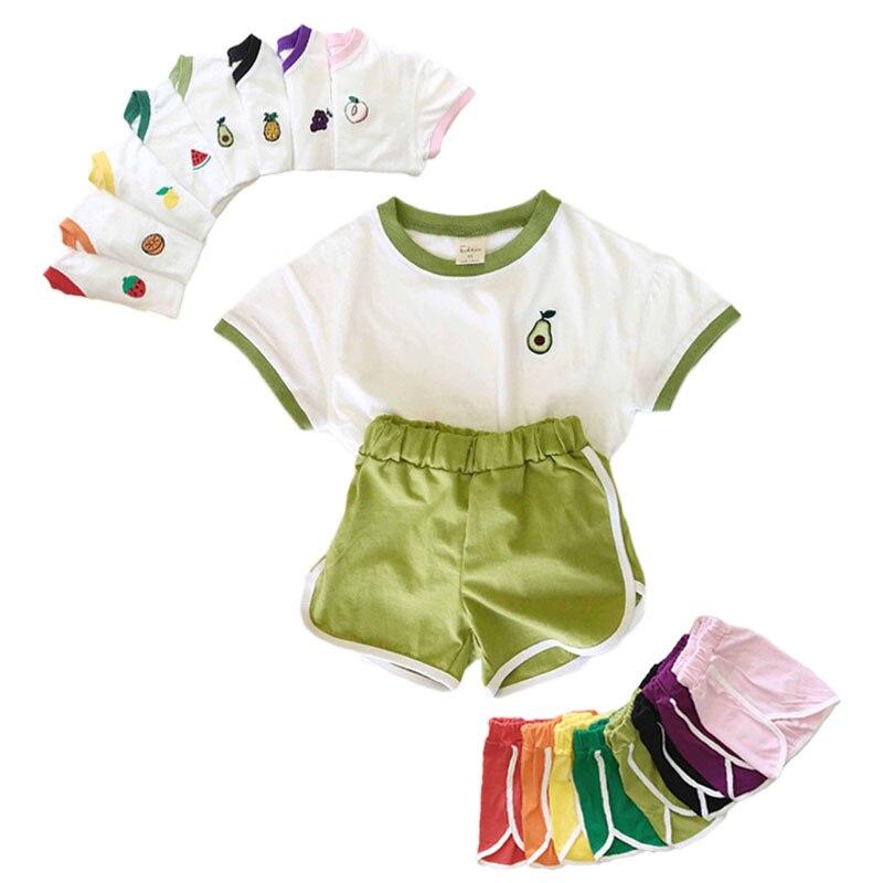 2020 bebé recién nacido Ropa de los niños conjunto lindo diseño de frutas impresión Tops de niño y niña camisetas + Pantalones cortos pantalones trajes 2 uds verano bebé