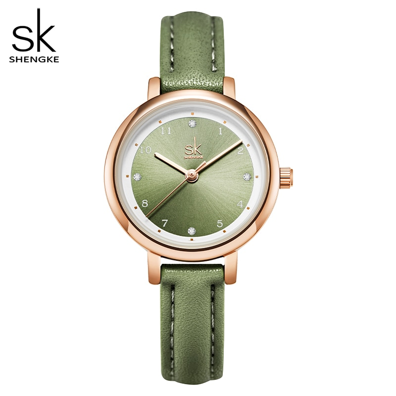 Shengke New Summer Green Women Watches Slim Leather Strap Mini Dial Japanese Quartz Movement Elegant Relogio Feminino Gift Watch