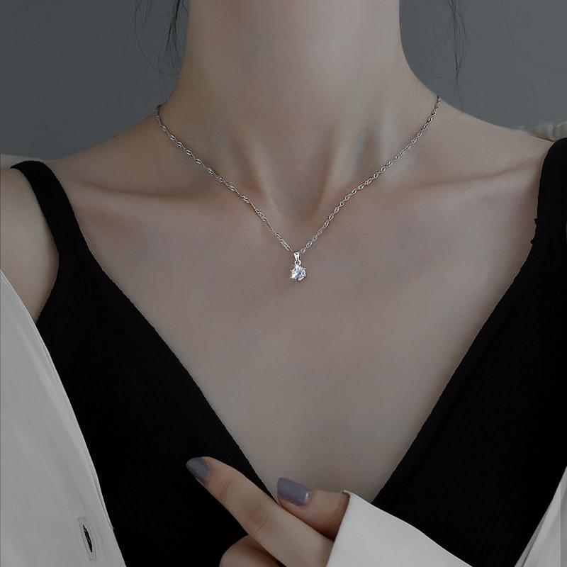 925 Sterling Silver Solitaire Necklace Female Model Small Diamond Clavicle Chain Pendant ma kuan Nec