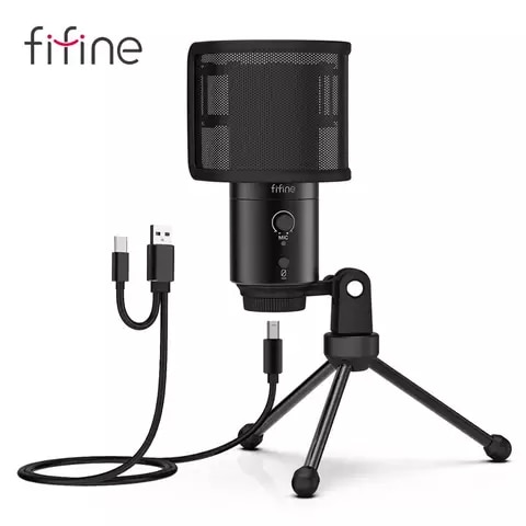 FIFINE 192KHz / 24bit USB & Type-C Microphone Windscreen Mute Button Condenser Mic Computer for Cardioid Studio Recording-K683A