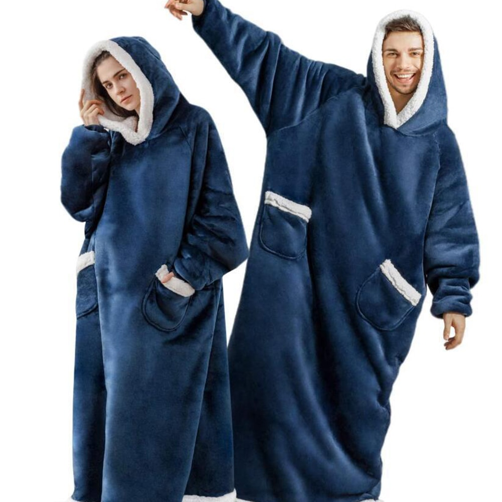سوبر طويلة الفانيلا بطانية بأكمام الشتاء هوديس البلوز النساء الرجال قناع السترة الصوف بطانية التلفزيون العملاقة المتضخم