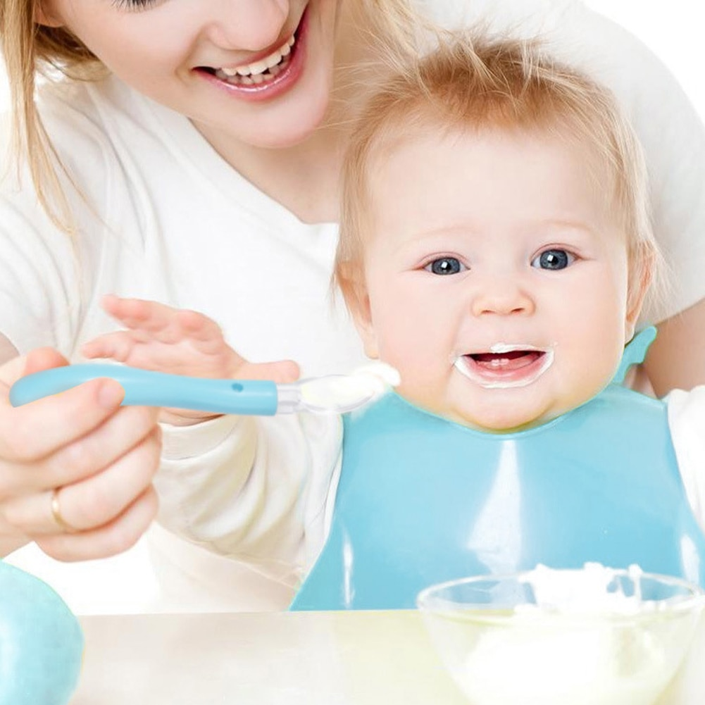 Baby Silicone Spoon Soft First Stage Feeding Spoon Self-Feeding Training Spoon for Toddlers Kids Feeding Dishes Feeder Appliance