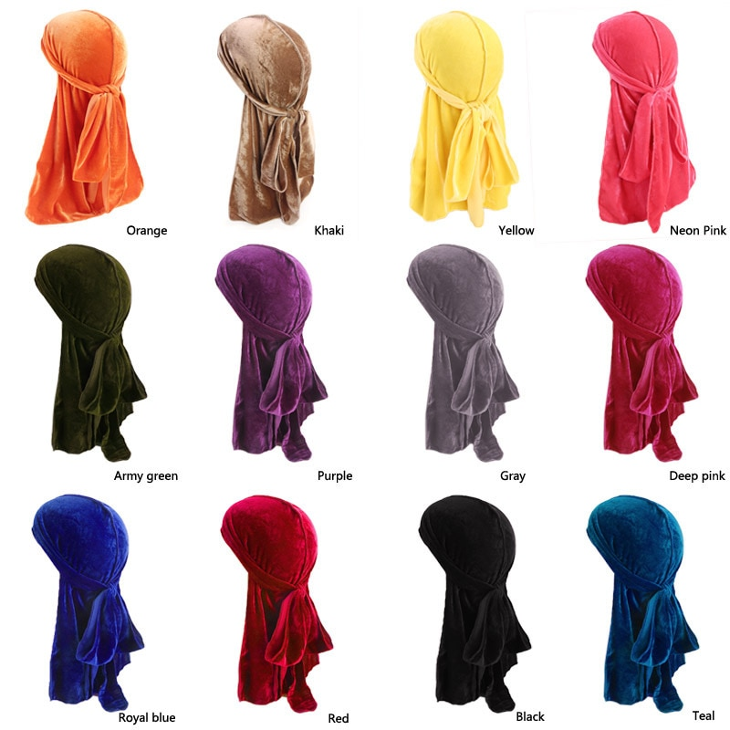 Unisex Men Women Hair Caps Breathable Bandana Night Slaaping Hat Velvet Durag Long Tail Headwrap Chemo Hair Styling Caps