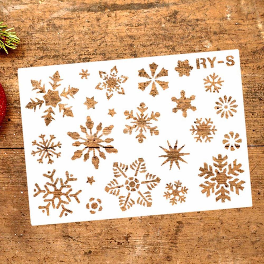 Natal oco forma de floco de neve diy stencil parede pintura scrapbook modelo