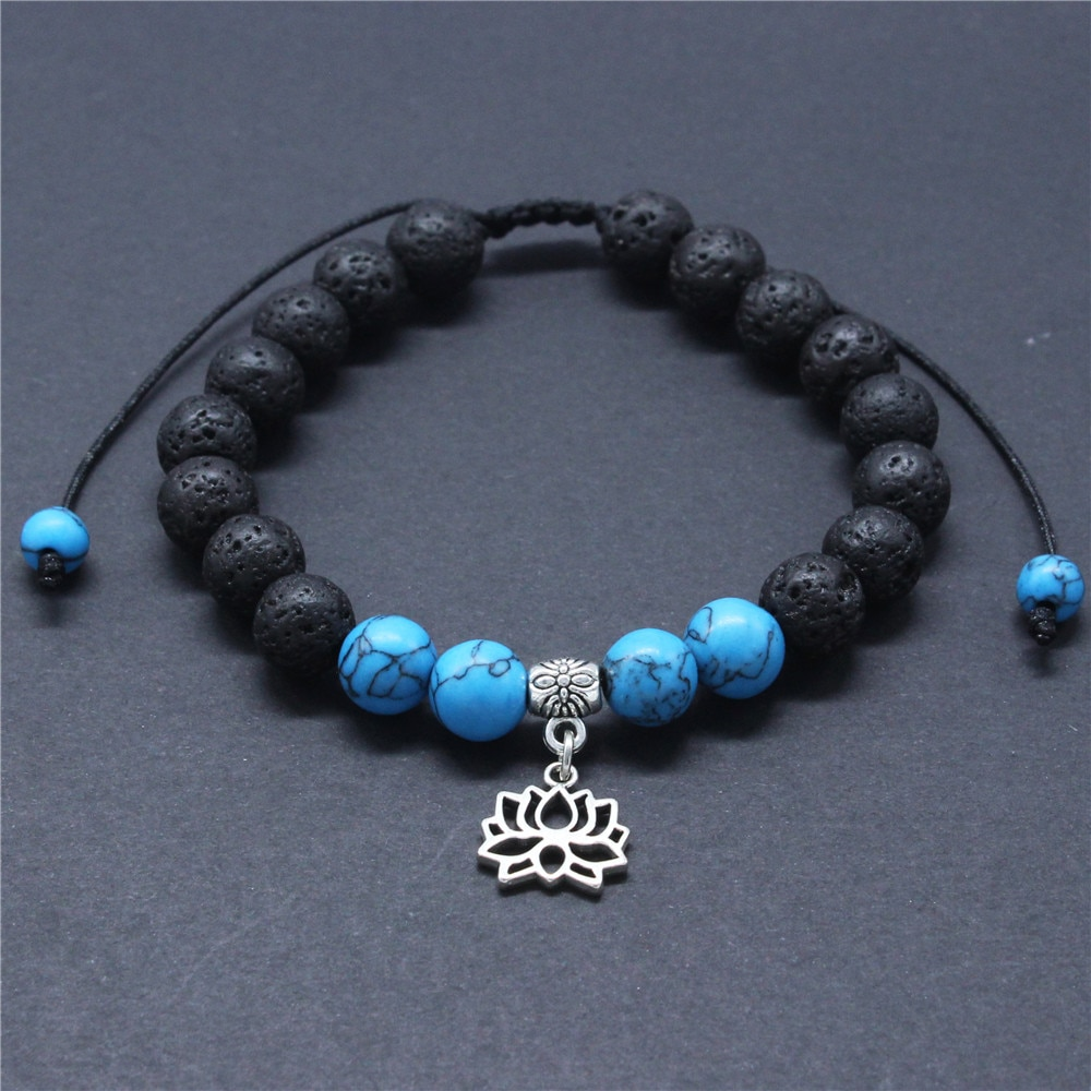 DGW 8mm Lava Rock Lotus charm Bracelet for Men Women Anxiety Essential Oil Diffuser Braided Rope yoga Bracelet Beads Bangle gift