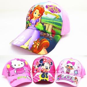 Disney 2021 New Children's Cartoon Hat Boys and Girls Sunshade Baseball Hat Hip Hop Sun Hat Snow Princess baby hat