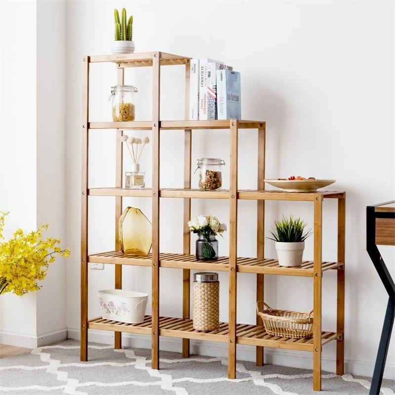 Multifunctional Bamboo Shelf Display Organizer Bookcases Storage Capacity Standing Shelves Hw57413 Leather Bag