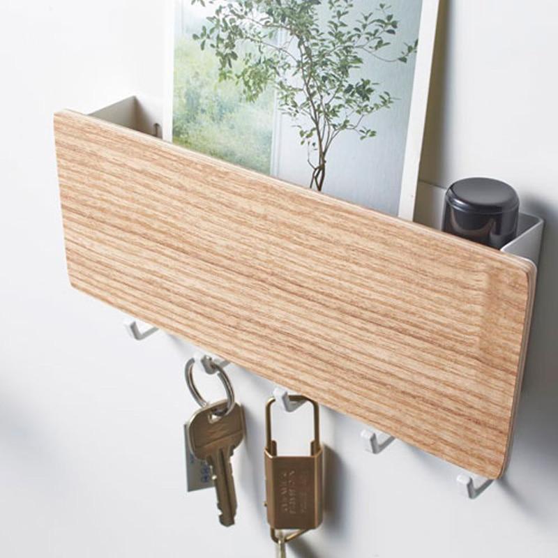 Rackový úložný stojan na klíč dřevěný věšák domácí zeď vinobraní chodba domácí úspora prostoru malá ložnice dveře zpět dekorativní pokojový stojan