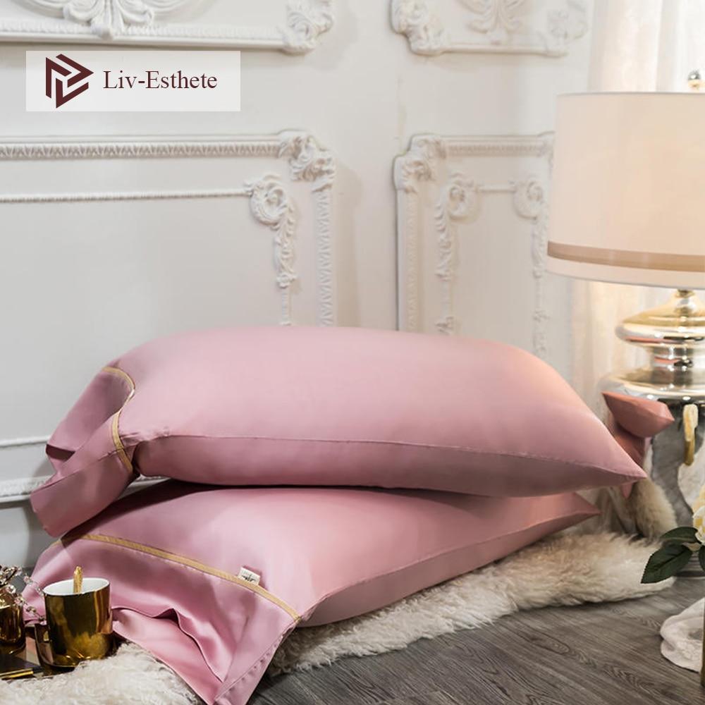 Liv-Esthete 100% funda de almohada rosa de seda de lujo para mujer 25 Momme Beauty Healthy Hair funda de almohada estándar para hombre cama funda de almohada
