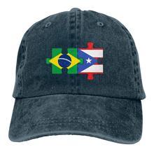 Casquette de Baseball en Denim teint en fil réglable pour homme/femme brésil porto Rico drapeaux Puzzle chapeau de papa