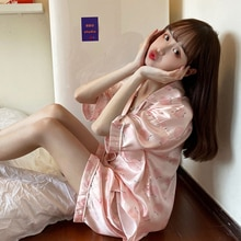 INS Style Pajamas Women's Summer 2021 New Internet Hot Cute Sweet Pajama Pants Home Wear Suit Two-Pi