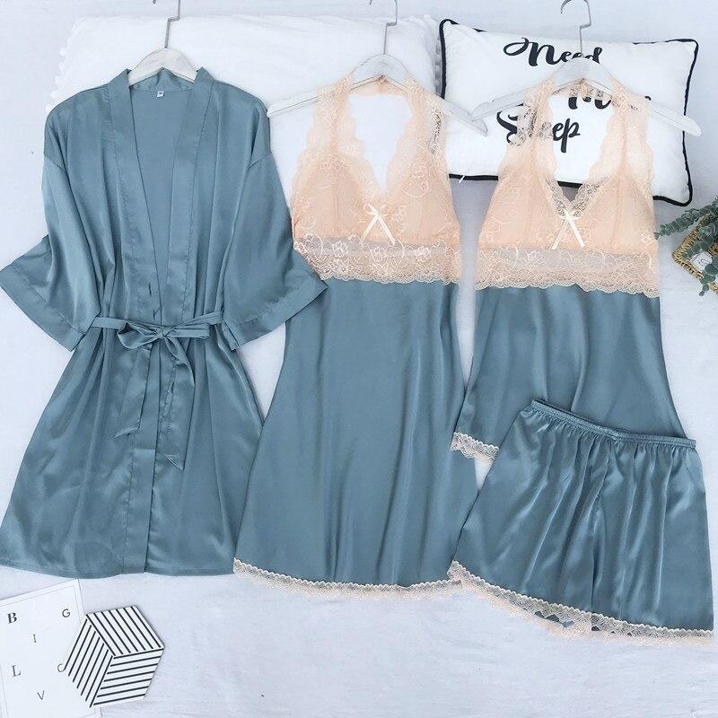 Vestido de novia Sexy para dama de honor, traje de satén para mujer, Kimono Lounge, albornoz, novedad de 2020, bata de casa con adorno de encaje Suelto