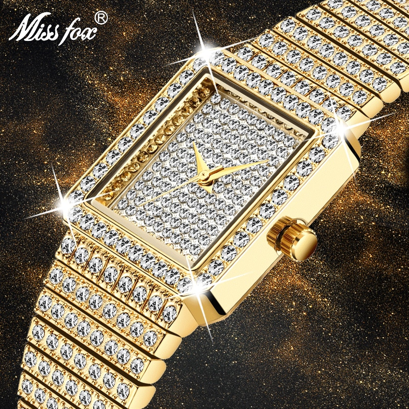 MISSFOX Diamond Watch For Women Luxury Brand Ladies Gold Square Watch Minimalist Analog Quartz Movt