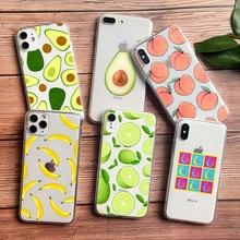Cute Fruits avocado peach orange banana Phone Case For iPhone SE 2020 XR XS max 7 6 8 Plus 11 PRO MAX Soft TPU Silicone Cover
