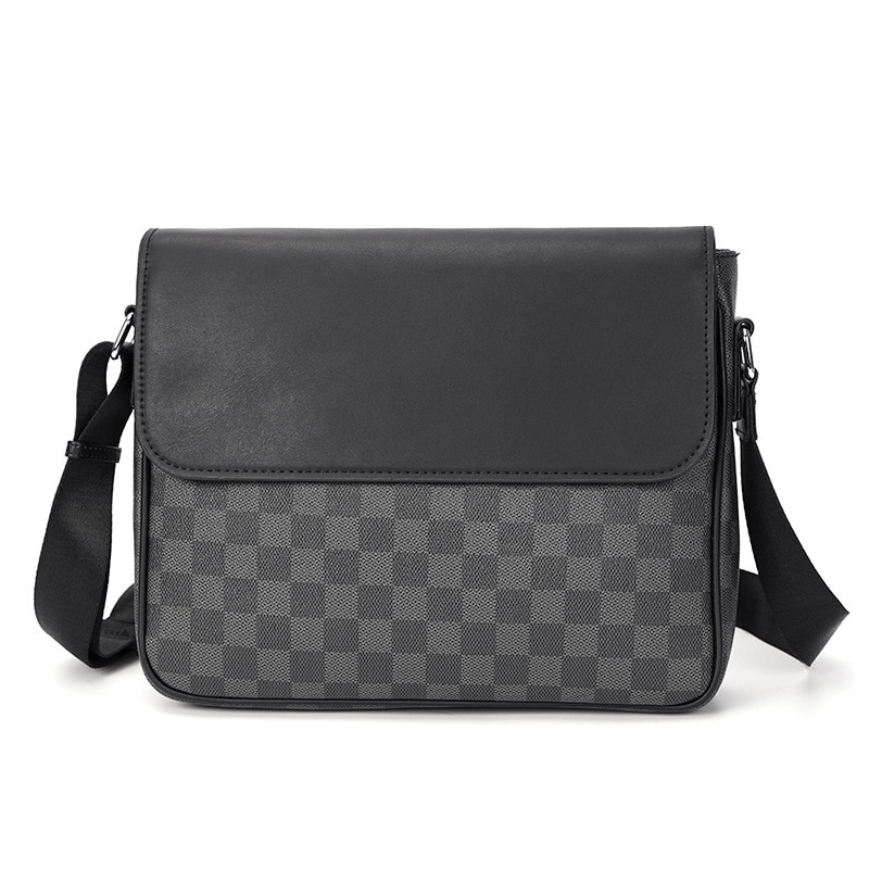 New Fashion Brand Luxury Men's Shoulder Bag PU Leather Plaid Designer Crossbody Message Bags Business Handbags For Men Bolso