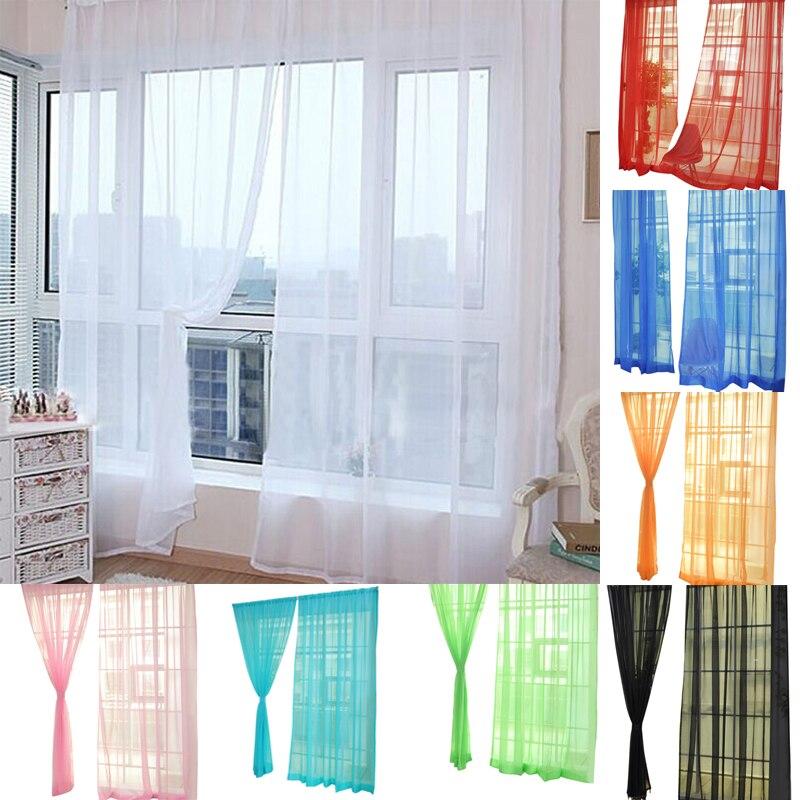 2019 cortina de cor pura tule porta janela cortina painel sheer cachecol valances sala estar cortinas cortinas cortinas