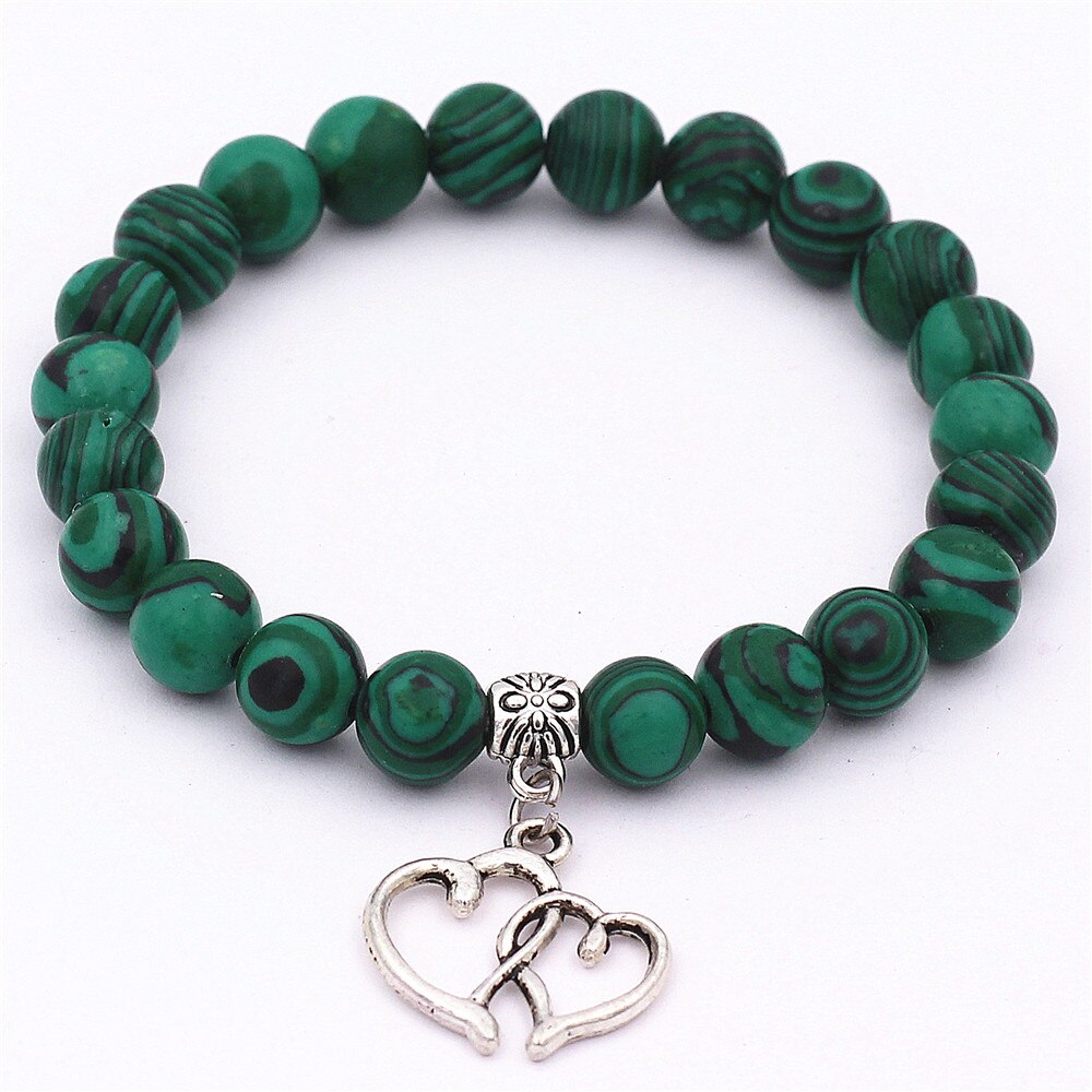 DGW pulsera de doble corazón con cuentas, brazaletes de piedra preciosa Natural, amor, corazón, cuentas curativas, pulseras para Hermanas, joyería para mujer