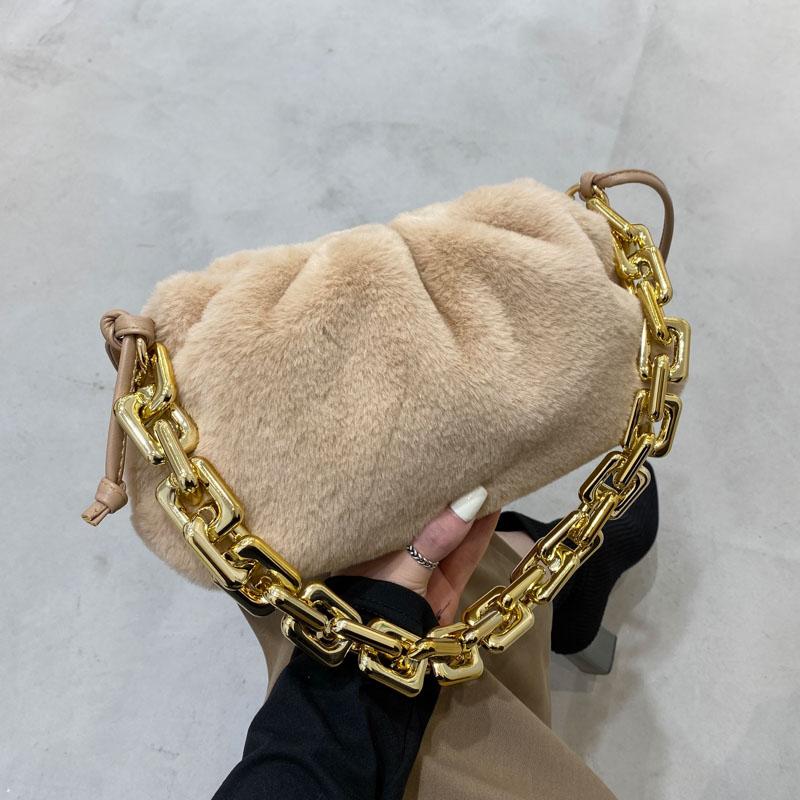 Luxury Designer Women Handbag And Purses Gold Thick Chain Shoulder crossbody bags for women 2021 Plush Faux Fur Clutch Bag