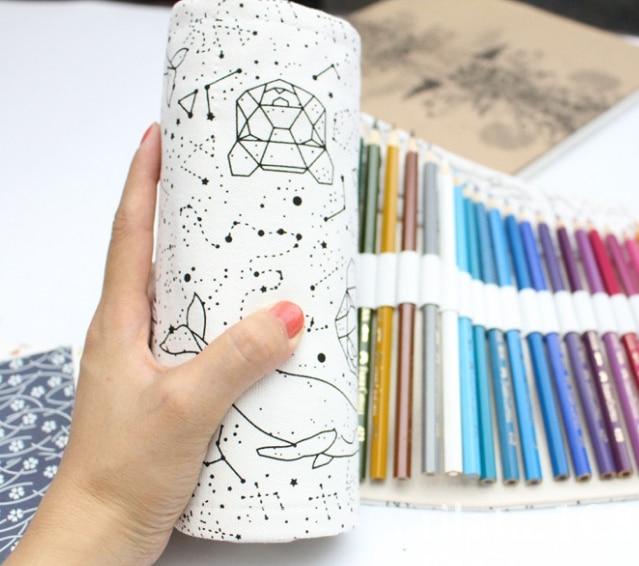 Simple and Portable 36/48 Holes Big Constellation Pencil Case Canvas Roll Pouch Pencilcase Sketch Brush pen Pencil Bag Tools