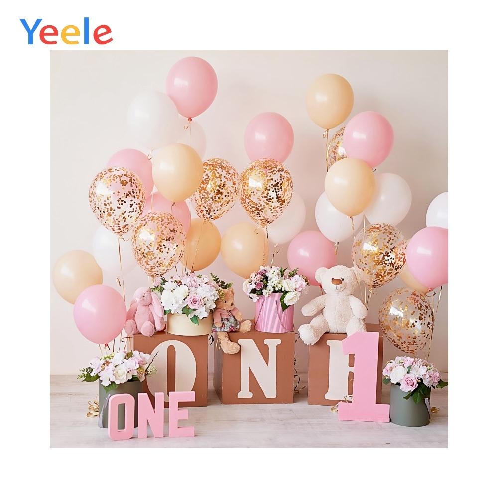 Globos rosas feliz bebé 1 er cumpleaños fiesta regalo flor oso de peluche bebé retrato Foto fondo fotografía photocall telón de fondo