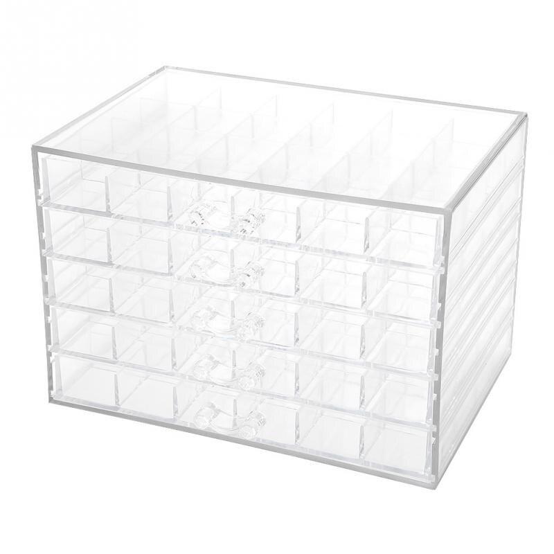 صندوق تخزين شفاف لفن الأظافر ، صندوق شفاف مزين بأحجار الراين والخرز وإكسسوارات مانيكير ، 120 شبكة