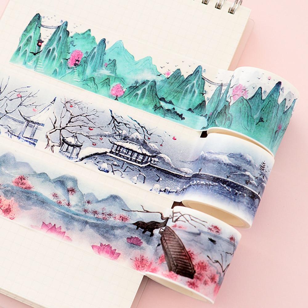 Китайский пейзаж Цветы Растения винтажный пейзаж лента для декорации Washi DIY планировщик дневник в стиле Скрапбукинг Маскировочная лента