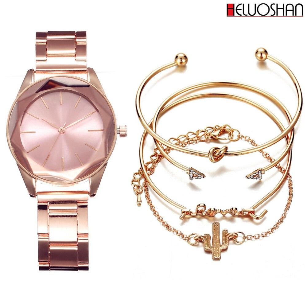 5 unid/set de relojes de pulsera de lujo para mujer, relojes de vestir con correa de acero inoxidable, Reloj de cuarzo para mujer, Reloj de pulsera femenino, Reloj