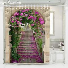 Bögen Blume Landschaft Dusche Vorhänge 3D Bad Vorhang Boho Wasserdichtes Gewebe Bad Vorhang douchegordijn cortina de ducha