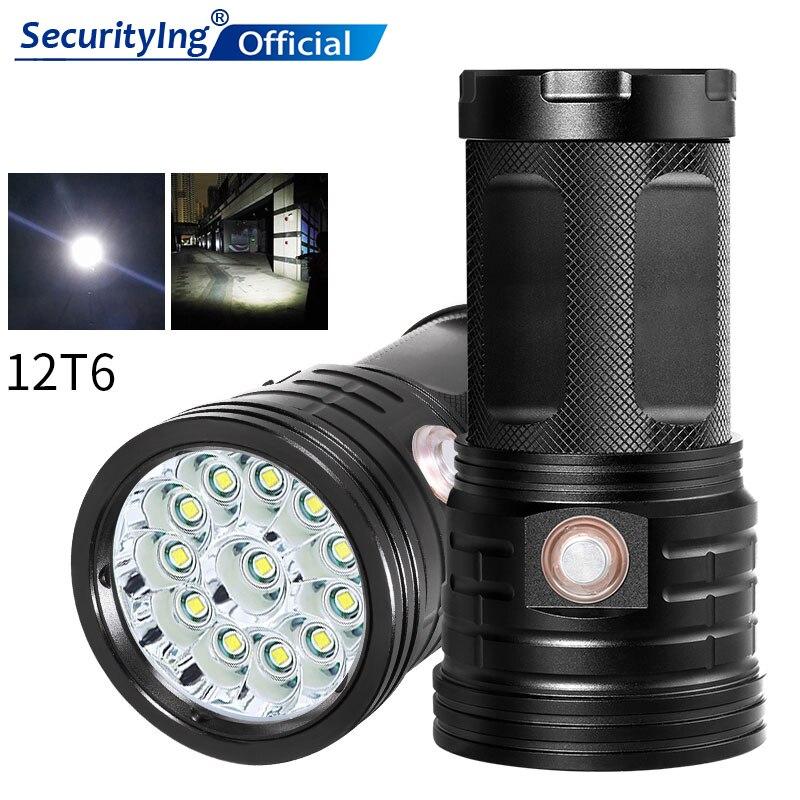 Linterna LED de 12 x XML-T6, potente linterna LED, iluminación de acampada al aire libre, 18650, linterna recargable de noche