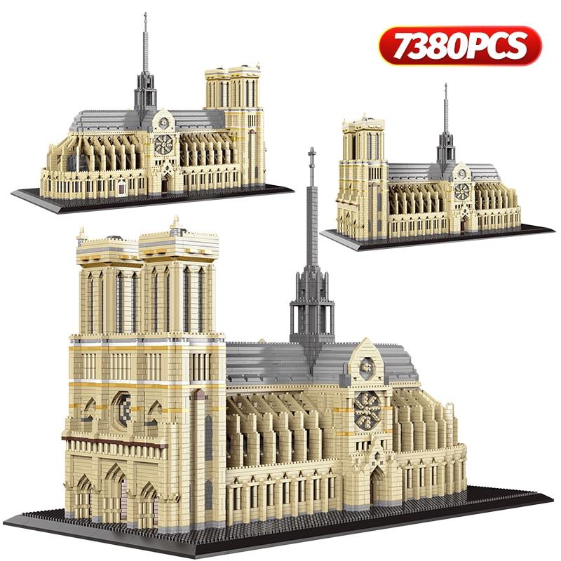 7380 قطعة + ألماس صغير نوتردام دي باريس نموذج لبنات البناء بنية الكنيسة التبت بوتالا قصر الطوب لعب للأطفال