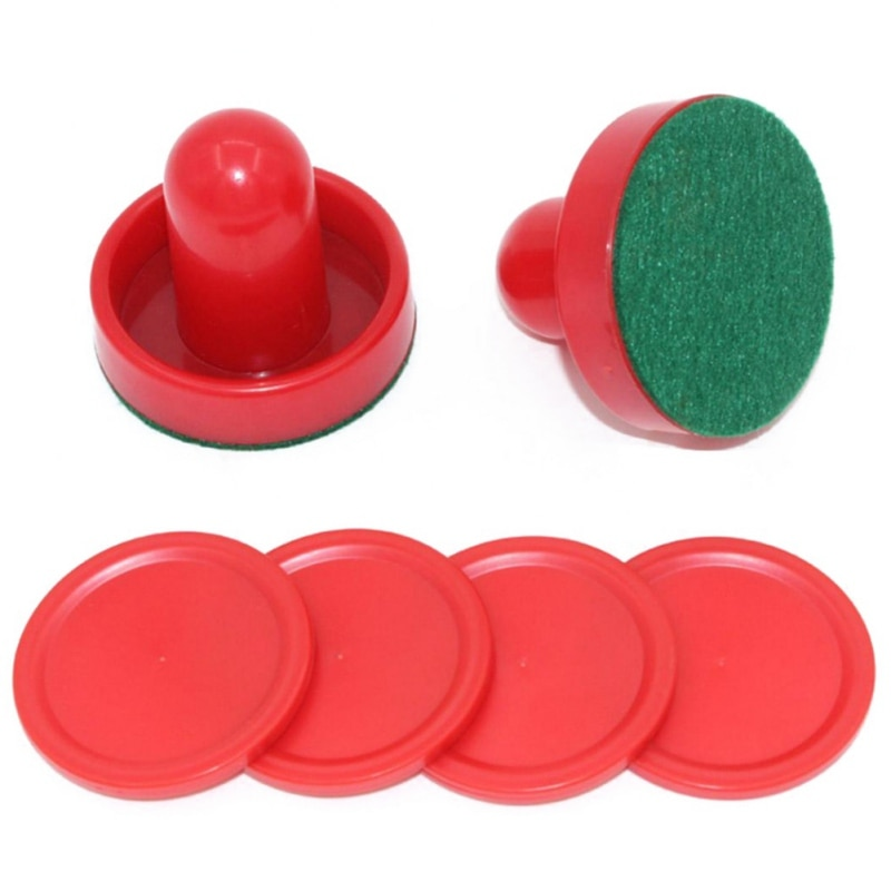 Hot8pzas/set Red Hockey equipo mesas juego de mesa plástico aire empujadores para Hockey Puck juego mesas accesorios porteros