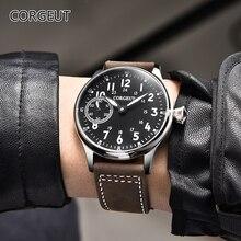 2020 neue 44mm Corgeut schwarz zifferblatt edelstahl Fall 17 juwelen 6497 handaufzug bewegung herren Uhr