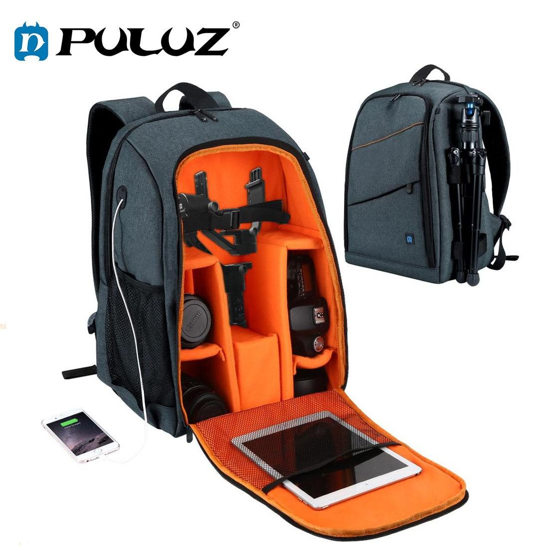 PULUZ-حقيبة ظهر للكمبيوتر المحمول مقاومة للماء ومضادة للخدش ، حقيبة كتف مزدوجة ، حقيبة كاميرا رقمية DSLR ، حقيبة ظهر للكمبيوتر المحمول