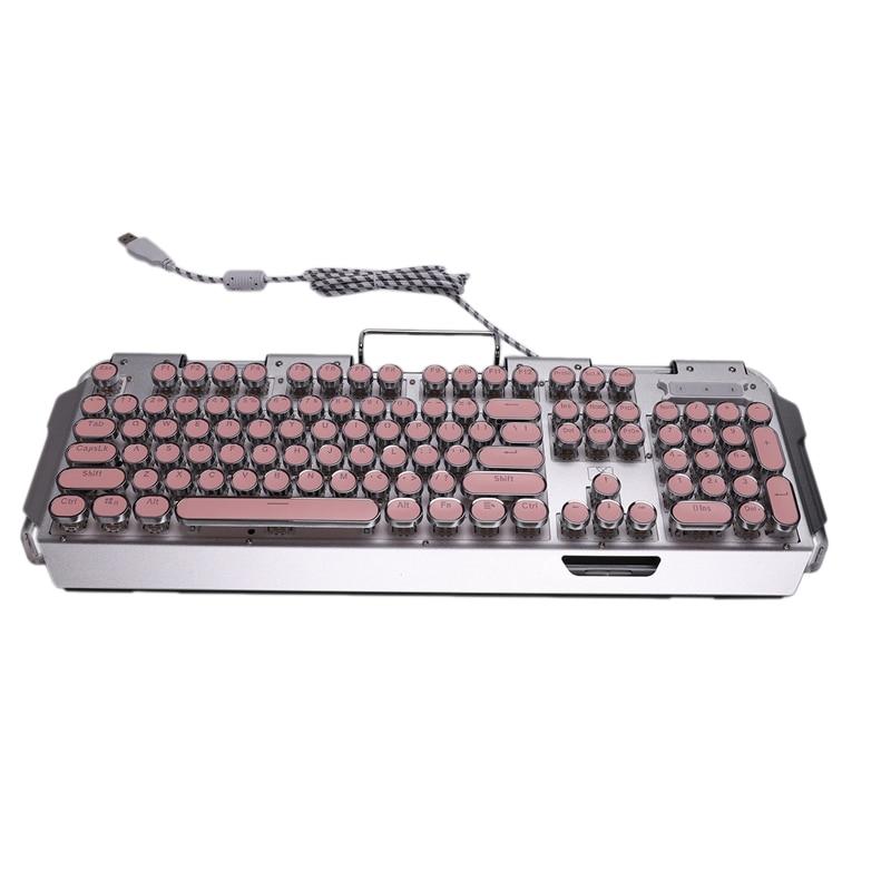 Teclado mecánico X10, Teclado mecánico Punk redondo Retro con cable, teclado con múltiples efectos de iluminación