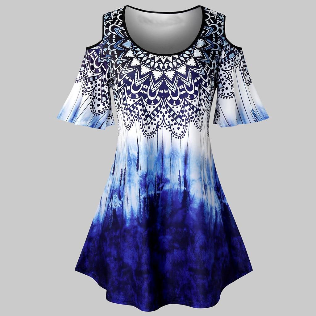 Blusa de talla grande a la moda con tinte dibujo corbata túnica de hombro descubierto Tops Casual de verano para mujer