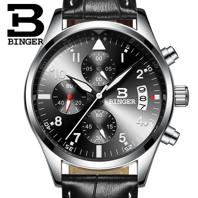 Relógio de Luxo Binger Chronograph Horas Função Relógio Esporte Couro Preto Masculino Marca Superior Militar & 24