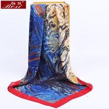 BOSI-foulard Hijab en soie rose   Foulard pour femmes, tête carrée, imprimé Bandana, châle, marque de luxe, 90*90cm