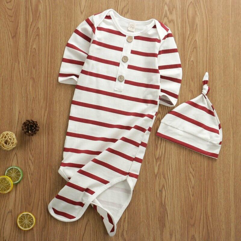 Bolsas de dormir de bebé recién nacido de moda lindo Botón de rayas envoltura de niño pequeño abrigo Manta con capucha saco de dormir ropa de cama 0-6M