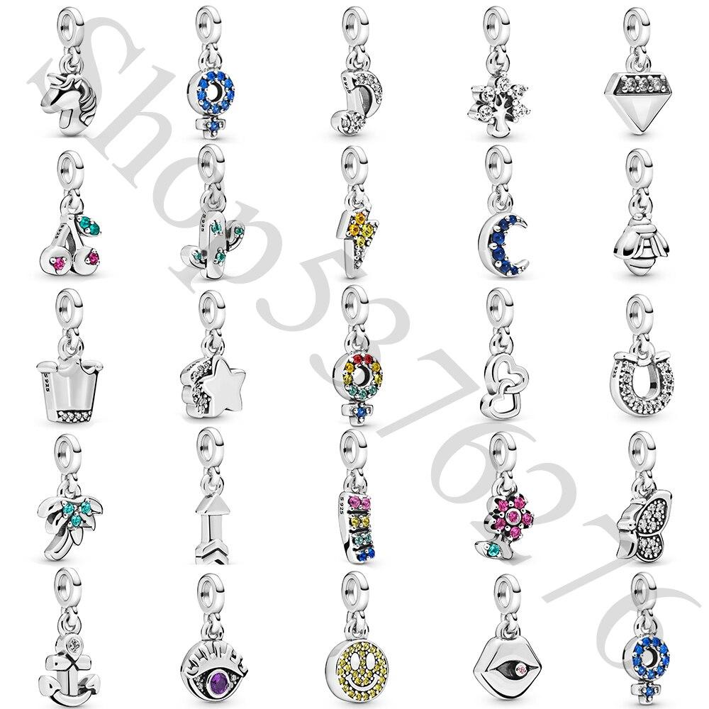 Cuenta de plata de ley 925 auténtica, Luna, flor, corona, árbol, nota, sonrisa, abalorio, Fit Fashion Women Pandora Me, brazalete, joyería DIY