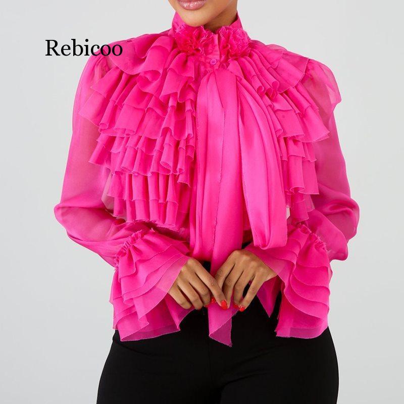 Rebicoo blusa de manga longa feminina verão rosa babados topos blusa feminina plus size escritório senhora ol elegante senhora camisas