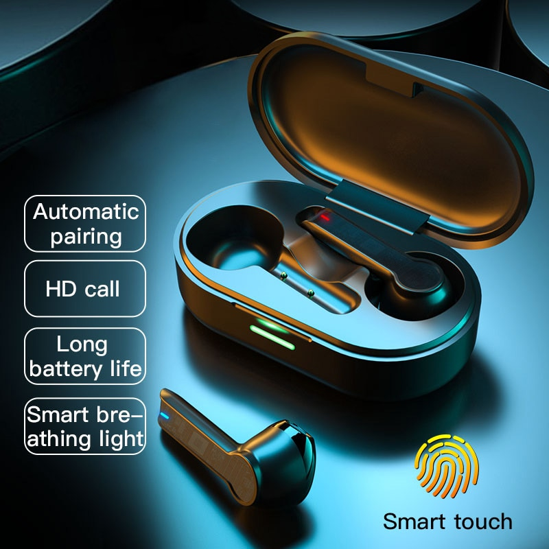 TWS Wireless Headphones Touch Bluetooth Earphones HIFI Sound Headset Waterproof with Microphone for IOS Android Phone bluedio v victory high end wireless bluetooth headphones pps12 drivers smart touch design over the earphones with microphone