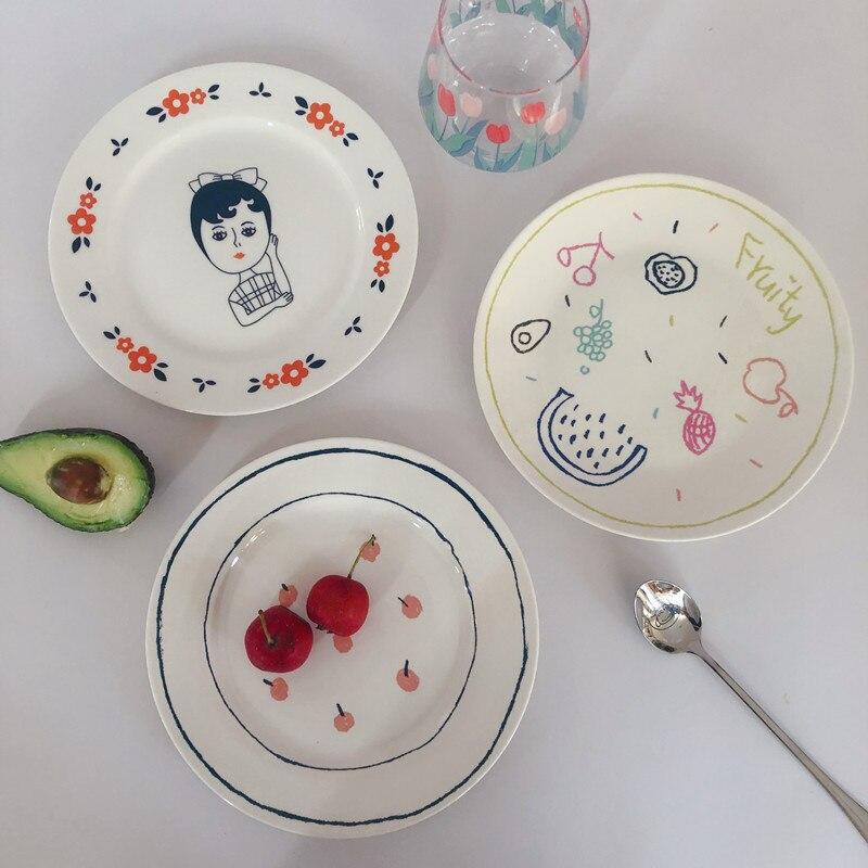 1 pçs osso china placa engraçado crianças ilustração padrão europeu simples casa bife sobremesa placa tigela acessórios de cozinha